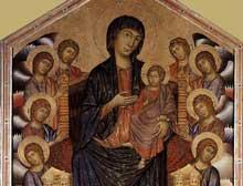 Cimabue: La Maesta, Madone en majesté (1285-1286), tempera sur panneau, 385 x 223cm. Florence, galerie des Offices. Détail.
