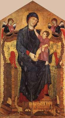 Cimabue. Madone en majesté avec l'Enfant et deux anges. Tempera sur bois, 218 x 118cm. Bologne, Santa Maria dei Servi