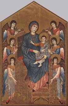 Cimabue. Madone en majesté avec l'Enfant entourée d'anges. 1290-1295. Panneau de bois, 424 x 276 cm. Paris, Musée du Louvre
