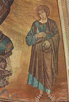 Cimabue. Le Christ en gloire entre la vierge et Jean l'évangéliste. 1301-1302. Mosaïque, 385 x 223cm. Dôme de Pise