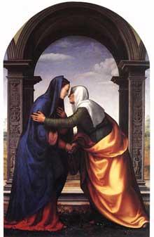 Mariotto Albertinelli: La Visitation. 1503. Huile sur bois, 23 x 50 cm; Florence, Galerie des Offices