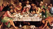 Jacopo da Ponte dit «Bassano»: La Cène; 1542; huile sur toile. Rome, Galerie Borghèse