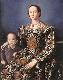 Bronzino: Eléonore de Tolède avec son fils Jean de Médicis. 1544-1545. Huile sur bois, 115 x 96cm. Florence, galerie des Offices