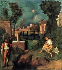 Giorgione: la tempête. 1505; huile sur toile, 82 x 73 cm. Venise, Gallerie dell