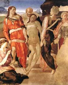 Michel Ange: mise au tombeau, vers 1510. Tempera sur bois, 159 x 149 cm. Londres, National Gallery