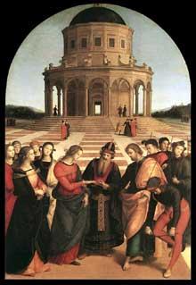 Raphael Sanzio (1483-1520): le mariage de la Vierge Marie. 1504; huile sur panneau, 170 x 117cm. Mila, Pinacothèque de la Brera