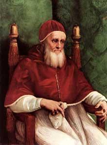Raphaël: Le pape Jules II. 1511. Huile sur bois, 108x80, 7cm. National Gallery Londres