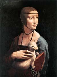 Léonard de Vinci (1452-1519): portrait de Cecilia Gallerani ou la dame à l'hermine. 1483-1490. Huile sur bois, 54,8 x 40,3cm; musée Czartoryski, Cracovi
