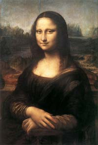 Léonard de Vinci (1452-1519): Mona Lisa (La Gioconda);1503-1505. Huile sur panneau de bois, 77 x 53 cm. Musée du Louvre, Pari