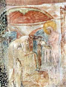Jésus au temple. Fresque de Santa Maria de Castelseprio en Lombardie