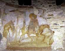 Fuite en Egypte. Fresque de Santa Maria de Castelseprio en Lombardie