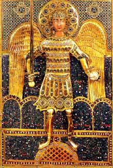 Art byzantino-gothique: la Pala d'Oro de Venise. Détail: saint Michel