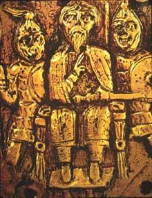 Trésor d'Agilulf, roi de Lombardie (590-616): plaque de casque en bronze doré représentant le triomphe du Roi. Détail: le roi trônant.Florence, musée national du Bargello