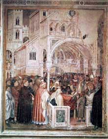 Altichiero da Zevio: Mort de sainte Lucie. 1379-1384. Fresque, 237 x 290 cm. Oratoire saint Georges, Padoue