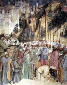 Altichiero da Zevio: l'exécution de saint Georges. 1380s. Fresque. Oratoire saint Georges, Padoue