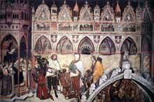 Altichiero da Zevio: La Vierge adorée par les membres de la famille Cavalli. Vers 1370. Fresque. Vérone, église Sainte Anastasie, chapelle Cavalli