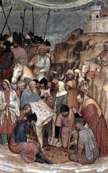 Altichiero da Zevio: Crucifixion, détail. 1376-1379. Fresque, 840 x 280 cm. Padoue, chapelle saint Jacques de la basilique saint Antoine