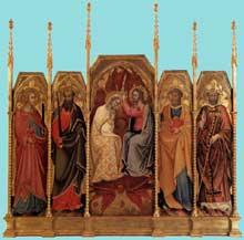 Andrea di Bartolo: Couronnement de la Vierge. Vers 1410. Panneau de bois, 160 x 65 cm (centre), 142 x 36 cm (chaque panneau latéral). Milan, Pinacothèque de la Brera