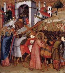 Andrea di Bartolo: le chemin de croix. Vers 1415-1420. Tempera sur panneau de bois, 55 x 49 cm. Madrid, Fundación Colección Thyssen-Bornemisza