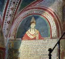 Le pape Innocent III. Fresque de l'église de Subiaco