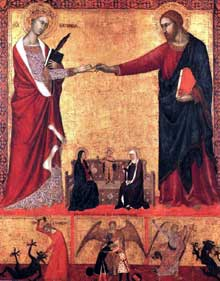 Barna de Sienne: le mariage mystique de Saint Catherine; 1340. Museum of Fine Arts, Boston