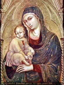 Barnaba da Modena: Madone à l'enfant. Vers 1367. Tempera sur panneau, 118 x 87 cm. Frankfurt am Main, Städelsches Kunstinstitut