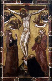 Barnaba da Modena : Christ crucifié. Panneau de procession. Londres, Victoria and Albert Museum