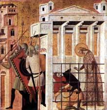 Giovanni Baronzio: Scènes de la vie de sainte Colombe: sainte Colomba sauvée par un ours. 1340s. Tempera sur bois, 53 x 55 cm. Milan, Pinacothèque de la Brera