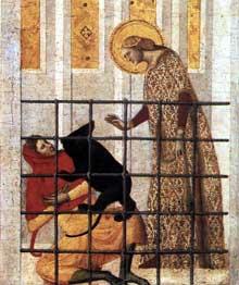 Giovanni Baronzio: Scènes de la vie de sainte Colombe, détail: sainte Colomba sauvée par un ours. 1340s. Tempera sur bois, 53 x 55 cm. Milan, Pinacothèque de la Brera