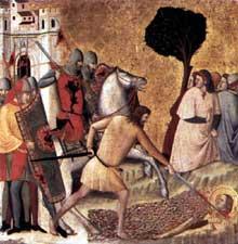 Giovanni Baronzio: Scènes de la vie de sainte Colombe, détail: la décapitation de sainte Colomba. 1340s. Tempera sur bois, 53 x 55 cm. Milan, Pinacothèque de la Brera