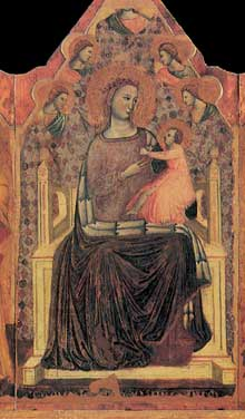 Giovanni Baronzio: Polyptyque, détail: la Madone. Vers 1345. Tempera sur bois. Museo de Mercatello sul Metaur