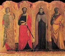 Giovanni Baronzio: Polyptyque, détail: Catherine d'Alexandrie, Paul, Louis d'Angers, Pierre. Vers 1345. Tempera sur bois. Museo de Mercatello sul Metaur