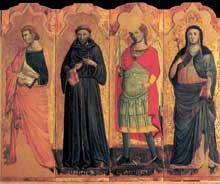 Giovanni Baronzio: Polyptyque, détail: Jean l'Evangéliste, François, l'archange Michel et Claire. Vers 1345. Tempera sur bois. Museo de Mercatello sul Metaur