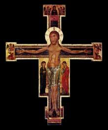 Berlinghiero Berlinghieri: crucifixion. Vers 1225. Tempera sur bois, 176 × 141 cm. Lucques, Pinacoteca Civica