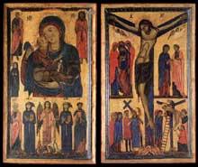 Bonaventura Berlinghieri: Madone avec Saints et Crucifixion. 1260-1270. Tempera sur bois, 103 x 122 cm. Florence, les Offices