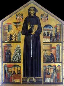 Bonaventura Berlinghieri: Saint François. 1235. Tempera sur bois. Pescia, église saint François