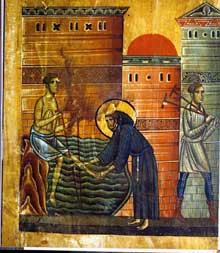 Bonaventura Berlinghieri: Saint François; détail: François guérit le paralytique <a class=