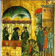 Bonaventura Berlinghieri: Saint François; détail: François guérit huit paralysés. 1235. Tempera sur bois. Pescia, église saint François
