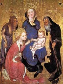 Michelono da Besozzo (connu de 1388 à 1445): le mariage mystique de Sainte Catherine. Jean Baptiste et saint Antoine. Vers 1420 Tempera sur bois, 75 x 58 cm. Sienne, Pinacothèque Nationale