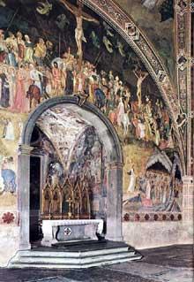 Andrea di Bonaiuto: la Crucifixion 1365-1368. Fresque. Florence, Cappella Spagnuolo de Santa Maria Novella