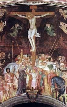 Andrea di Bonaiuto: Crucifixion 1365-1368. Fresque. Florence, Cappella Spagnuolo de Santa Maria Novella