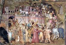 Andrea di Bonaiuto: le portement de la croix. 1365-1368. Fresque. Florence, Cappella Spagnuolo de Santa Maria Novella