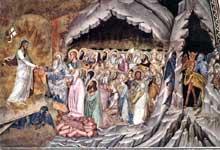 Andrea di Bonaiuto: la descente du Christ dans les limbes. 1365-1368. Fresque. Florence, Cappella Spagnuolo de Santa Maria Novella