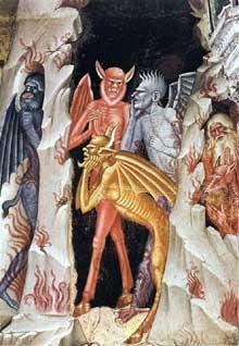 Andrea di Bonaiuto: la descente du Christ dans les limbes, détail. 1365-1368. Fresque. Florence, Cappella Spagnuolo de Santa Maria Novella