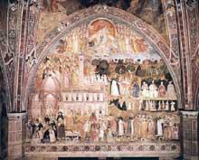 Andrea di Bonaiuto: Le chemin du salut ou le triomphe de l'Eglise. 1365-1368. Fresque. Florence, Cappella Spagnuolo de Santa Maria Novella