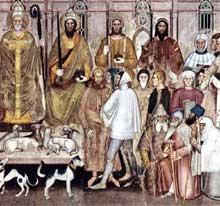 Andrea di Bonaiuto: Le chemin du salut ou le triomphe de l'Eglise, détail. 1365-1368. Fresque. Florence, Cappella Spagnuolo de Santa Maria Novella
