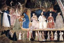 Andrea di Bonaiuto: Le chemin du salut ou le triomphe de l'Eglise, détail: les vices et les péchés. 1365-1368. Fresque. Florence, Cappella Spagnuolo de Santa Maria Novella