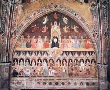 Andrea di Bonaiuto: le triomphe de saint Thomas et l'allégorie des sciences. 1365-1368. Fresque. Florence, Cappella Spagnuolo de Santa Maria Novella