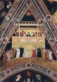 Andrea di Bonaiuto: la descente du saint Esprit. 1365-1368. Fresque de la voûte au dessus du triomphe de saint Thomas. Florence, Cappella Spagnuolo de Santa Maria Novella