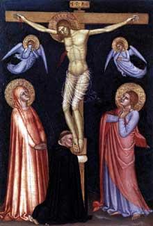 Andrea di Bonaiuto: crucifixion. 1370-1377. Tempera sur bois, 33 x 22 cm. Vatican, Pinacothèque